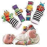 Unisex-Baby-Socken aus Baumwolle, Handgelenk-Rassel und Fußfinder für Kleinkinder, Stofftier-Spielzeug-Set