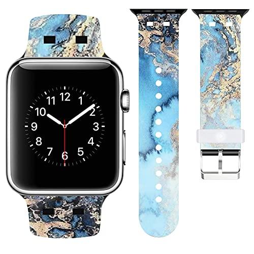 Vozehui Correa compatible con iWatch Series SE 6 5 4 3 2 1, patrón de chapado ajustable, pulsera de repuesto de silicona suave para Apple Watch de 38 mm, 40 mm, 42 mm, 44 m, mujeres y hombres