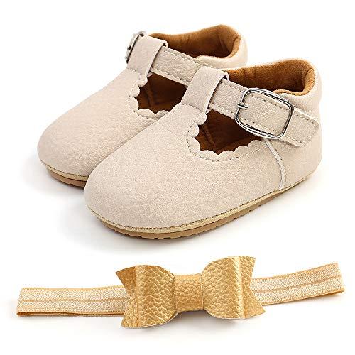 Zapatos de comunion niñas bebé Bota con Venda 2 PC Merceditas Zapatos de Bautizo de Princesa Antideslizantes Bowknot para bebé niña Zapatos Bebe Primeros Pasos para Niños 0-18 Meses