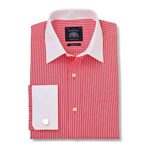Savile Row Company Men's Red White Poplin Stripe Classic Fit Shirt 15 1/2″ Standard