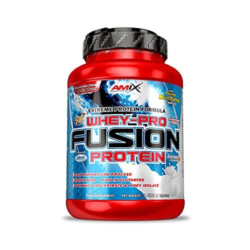 AMIX, Proteína Whey, Pure Fusión, Concentrado de Suero Ultra Filtrado, Sabor Vainilla, Proteínas para Aumentar Masa Muscula, Proteína Isolada con Splenda, Contiene L-glutamina , 1 Kg