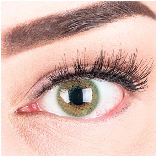 """Sehr stark deckende und natürliche grüne Kontaktlinsen SILIKON COMFORT NEUHEIT farbig """"Lacey Green"""" + Behälter von GLAMLENS - 1 Paar (2 Stück) - DIA 14.50 - ohne Stärke 0.00 Dioptrien"""