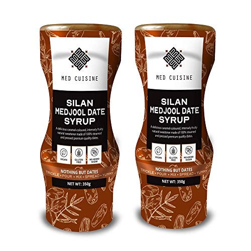 Med Cuisine 100% Dattel Sirup - Silan - (350GR X 2) - reiner & natürlicher Dattelsirup (Dattelhonig) - Vegan, zuckerfrei, paläo geegignet, glutenfrei, Squeeze-Flasche