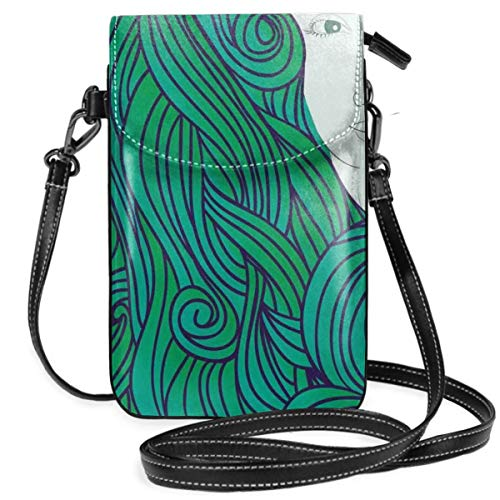 Jiger Women Small Cell Phone Purse Crossbody,Abstract Hand-Drawn Illustration Of Fantasy Girl Wavy Curly Hair