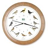Orologio da parete con uccelli sonori e cornice in legno