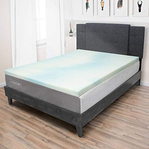 eLuxurySupply Beautyrest 1.5 Inch Memory Foam Mattress Topper - Temperature Regulating Mattress Pad - 2 lb Density for High Support and High Response - CertiPUR-US Certified - Made in USA - Full Size