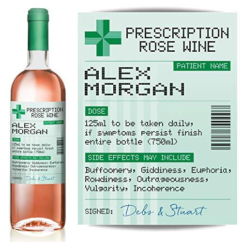 Personalised Prescription Rose Wine Label from TigerMill Publishing – Fun Birthday Gift idea (Green Label)