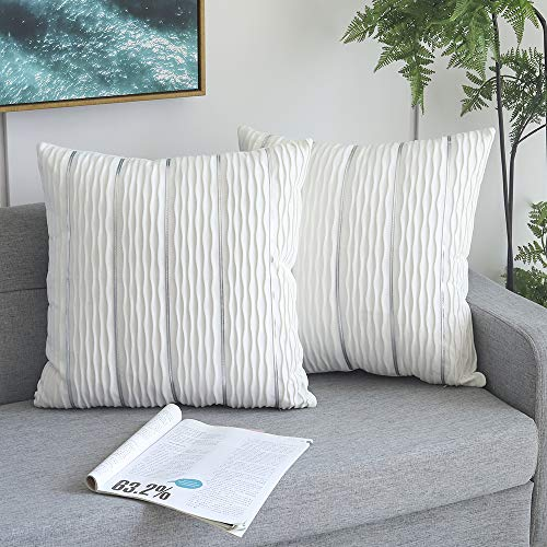 Decorative White Jacquard Wave Cushion Cover, 2 Pack Velvet Pillow Cover Sham Cushion Covers, Sofa Couch Bedroom Throw Pillow Cases, 45cmx45cm Square Pillowcase-White 18' x 18'