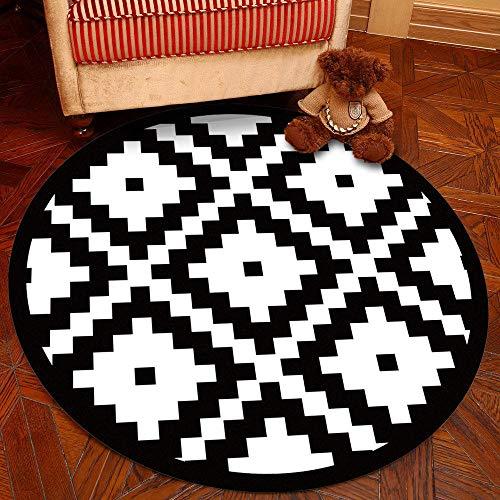RUGMRZ Tappeti Anti-Usura Stile Geometrico Moderno Tappeti Tappeto da Studio Rotondo a Disegno Geometrico antisporco e Resistente all'onda Quadrata Morbido Interni Coperta Bianca 180X180CM