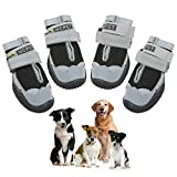 Ufanore Dog Boots, Breathable Dog Shoes with Reflective Strip and Adjustable Strap Rugged Anti-Slip Sole Dog Shoes 4 Pcs (Size 8: 3.34''x2.95''(LW) for 75-95 lbs, Black)