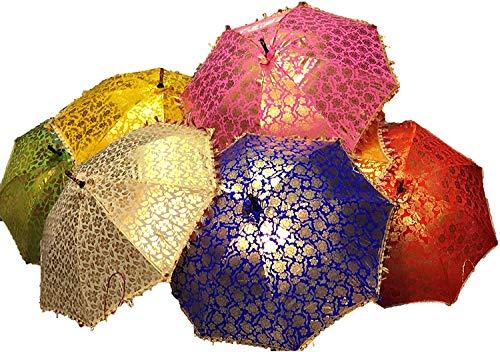 GANESHAM Indischer Hochzeits-Dekorativer Designer-Regenschirm, modisch, mehrfarbig, Strandschirm, UV-Schutz, Sonnenschirm, Stickerei, Outdoor, Boho-Sonnenschirm, handgefertigt (10 Stück)