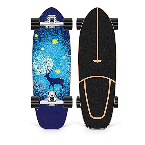 XKAI 75×23cm Surf Skate Skateboard Completa Board Carving CX4 Pumping Cruiser Longboard Deck Madera de Arce Monopatin para Adultos Principiantes, Rodamientos de ABEC-11