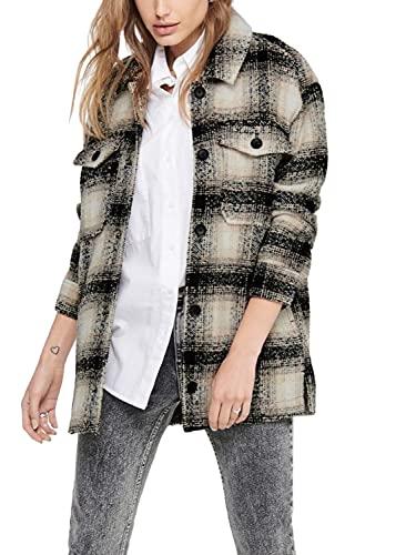 ONLY Damen Onlallison Check Wool Shacket Cc Otw Hemd, Pumice Stone, M EU