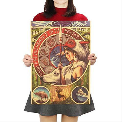Miyazaki Hayao Prinzessin Mononoke Kraftpapier Poster Cartoon Film Wandaufkleber Bar Cafe Dekorative Malerei 50.5x35cm