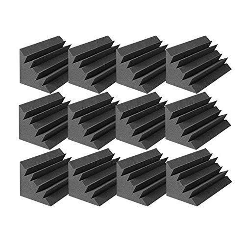 Arrowzoom 12 Bass Traps Panels absorción de sonido Espuma Acústica Absorcion Aislamiento Acustico Auto Extinguible 12x12x24cm Negro