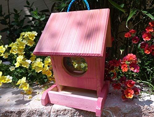 Futterhaus BTV-VOFU1K-pink002 XXL PREMIUM Vogelhaus Vogelfutterhaus rot pink rosarot Nistkasten für Nützlinge im Garten Marienkäfer, als Ergänzung zum Meisen Nistkasten Meisenkasten oder zum Insektenhotel, Futterstation für Vögel, Vogelhäuschen / Vogelvilla zum Hängen und Aufstellen von BTV