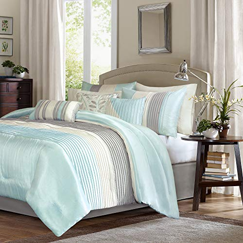 Madison Park Amherst Faux Silk Comforter Set-Casual Contemporary Design All Season Down Alternative Bedding, Matching Shams, Bedskirt, Decorative Pillows, Queen(90u0022x90u0022), Aqua, 7 Piece