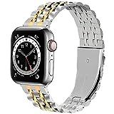 Fullmosa Edelstahlarmband für Apple Watch Armband 38mm, Edelstahl Uhrenarmband Ersatz Armbänder mit Metallschließe, Verstellbar Metall Ersatzband für iWatch Series 3/2/1