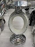 Touch of Vogue TOV Silberne verspiegelte Beistelltisch Modern Pflanzenständer Beet Side Sparkle End Romany Pearl