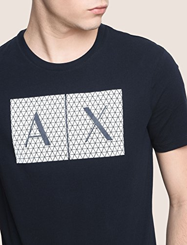 A|X Armani Exchange Men's Crew Neck Tee, Grid Logo Navy, M