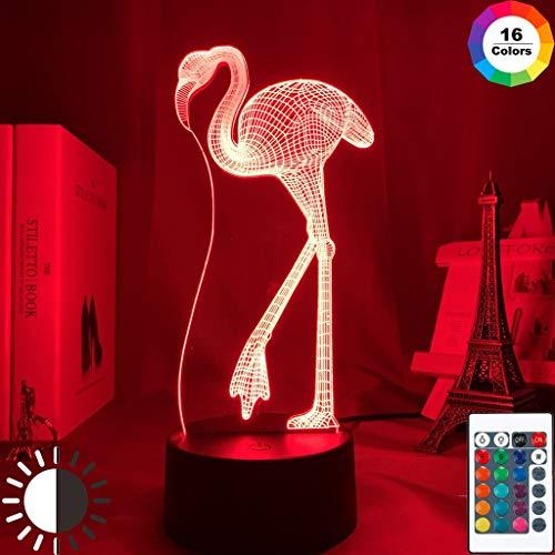 Lámpara de noche acrílica con ilusión 3d, Sensor táctil con cambio de color de flamenco, luz nocturna para decoración de dormitorio, luz de noche Led para niños y bebés