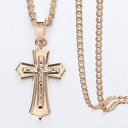 ZJJLWL Co.,ltd Necklace Necklace Cross Crucifix Clear Crystal Pendant Necklace 585 Rose Gold Prayer Jesus Snail Link Chain Jewelry-Gp405 with 50Cm Chain Pendant Necklace for Women Men