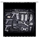 dachengxing Gun Firearm Equipment Shower Curtain Military Armoring Theme Decor Pistol Rifle Handcuffs Gloves Army Weapon,Waterproof Black Gray Fabric Hooks Included 70x70 Inch