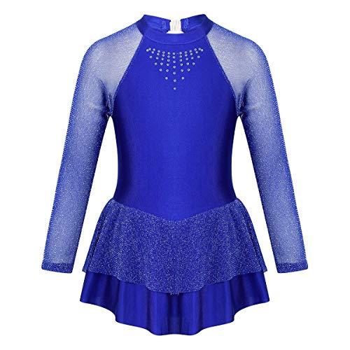 inlzdz Maillot de Patinaje Artística sobre Hielo para Niña Brillantes Vestido de Danza Ballet Manga Larga Gimnasia Disfraz de Actuación Escénica Azul 10 Años