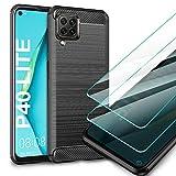 AROYI Huawei P40 Lite Hülle + [2 Stück] Panzerglas Bildschirmschutzfolie, Schutzhülle Silikon Schwarz Hülle Soft TPU Handyhülle Carbon Fiber Cover für Huawei P40 Lite