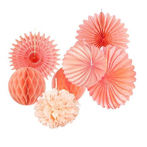 SUNBEAUTY Apricot Papier Dekoration 7er Set Deko Rosa Lampion Wabenball Pompom Fächer Peach...