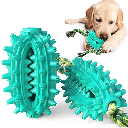 CEESC Dog Toothbrush Chew Toys with Rope, Durable Puppy Dog Toy Bite-Resistant Cactus Molar Ball, All-Round Cleaning Dog Dental Care...