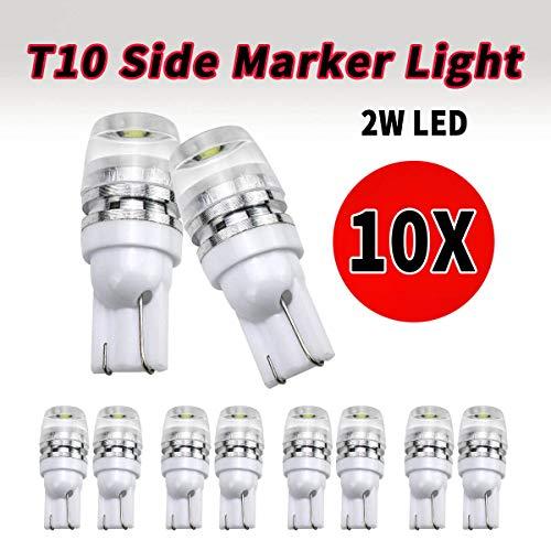 VLAND 10x T10 W5W Bombilla LED blanca para luces de matrícula, bombilla Canbus 12V 6SMD para luces de posición laterales de la puerta del mapa