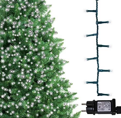 ANSIO Luci natalizie per interni e esterno 500 LED albero luci bianco brillante, 8 modalità con memoria e funzione timer, alimentate, trasformatore incluso 12,5 m Lunghezza illuminata- CAVO VERDE