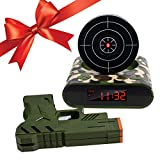 SUNJULY Target Wake UP Alarm Clock, Creative Gun Shooting Alarm Personalized 12 Hour Digital Display for Heavy Sleepers, Christmas Novelty Gift for Boys Girls