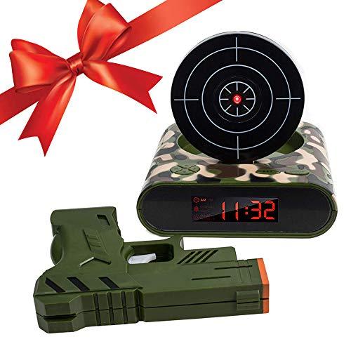 ACCEDE Target Wake Up Wecker, Creative Gun Shooting Alarm Personalisierte 12-Stunden-Digitalanzeige für Heavy Sleeper, Weihnachtsneuheit Geschenk für Jungen Mädchen