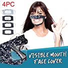 4Pcs New Unique Translucent Face Cover Fashion Reusable Filter Printed Mouth Protection With Clear Window Visible Barrier-free Expression For The Deaf And Hard Of Hearing For Adults Women And Men