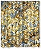 remmber me Neuheit Gelb Blümchen Blumen Einfache Muster Duschvorhang Wasserdicht Badezimmer Dekor Polyester Stoff Vorhang Sets mit Haken 60x72 Zoll