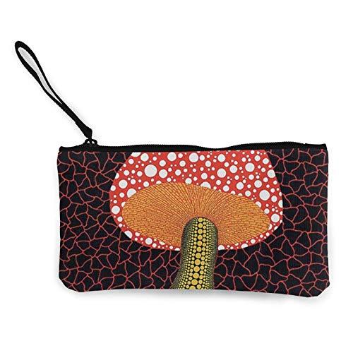 XCNGG Monederos Bolsa de Almacenamiento Shell Avant Garde Art Red Mushroom Canvas Coin Purse with Zipper Coin Wallet Multi-Function Small Purse Cosmetic Bags For Women Men