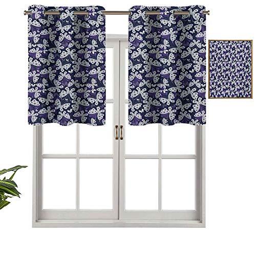 Hiiiman Cortinas cortas opacas con ojales, mariposas con alas con patrón de flores, insectos ornamentados de animales, juego de 1, cenefas pequeñas de media ventana de 132 x 45 cm para cocina