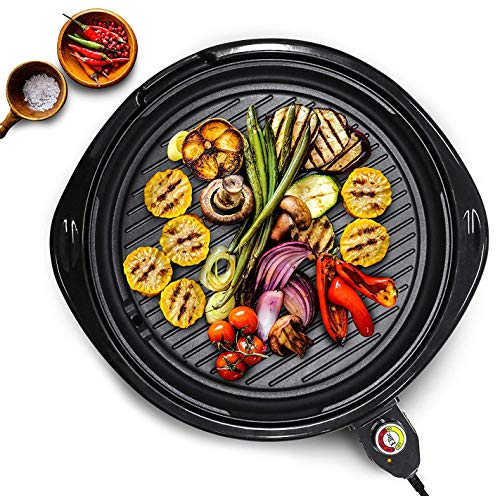 Maxi-Matic Indoor Electric Nonstick Grill Adjustable Thermostat, Dishwasher Safe, Faster Heat Up, Low-Fat Meals, Easy To Clean Design, Includes Glass Lid, 14' Round