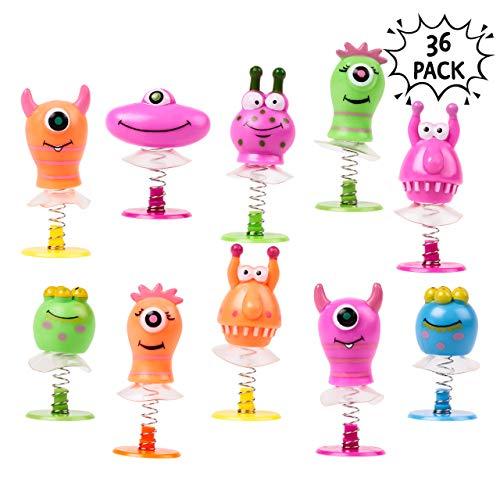 THE TWIDDLERS Springende Monster Hüpfer - Wackelköpfe Spring Packung mit 36 Pop- Up Aufklappspielzeug - Ideal für Partytaschen | Piñata | Taschen Mitgebsel | Preise Kinder | Weihnachtsstrümpfe Füller