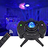 LED Star Night Light Projector, Galaxy Light Projector with Remote, Sky Light Skylite with Bluetooth Music Speaker and Nebula Cloud/Moon/Ocean Wave for Bedroom/Game Room/Decoration Party (Black)