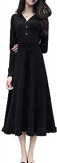 (ザラー)レディース ワンピース マキシ丈ワンピース 長袖 Vネック ニット レディースファッション 秋 ロング丈 ドレス 無地 膝丈 上品 可愛