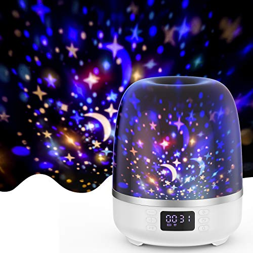 Star Projector Night Light Bluetooth Speaker 360 Degree Rotation Multicolor Changing Music Nursery Light Bedside Table Lamp with 6 Optional Films for Kids, Adults, Alarm Clock/TF Card/AUX Support