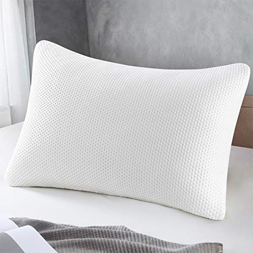 Memory Foam Pillow, Standard Size Pillows for Sleeping Adjustable Loft Firmness Shredded Hypoallergenic Headrest Cushion for Travel / Home / Hotel Collection Washable Removable Cooling Bamboo Derive
