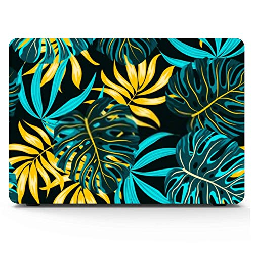 Mac book Pro Case Blue Yellow Tropical Plants Mac book Retina 12' A1534 Plastic Case Keyboard Cover & Screen Protector & Keyboard Cleaning Brush