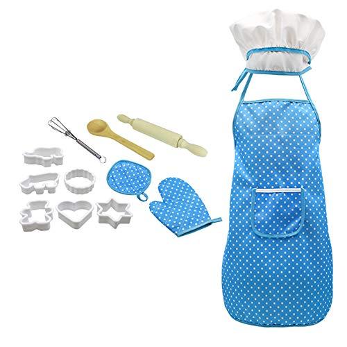 fgsdd Juego completo de utensilios de cocina y horneado para niños, 12 piezas, incluye delantal.