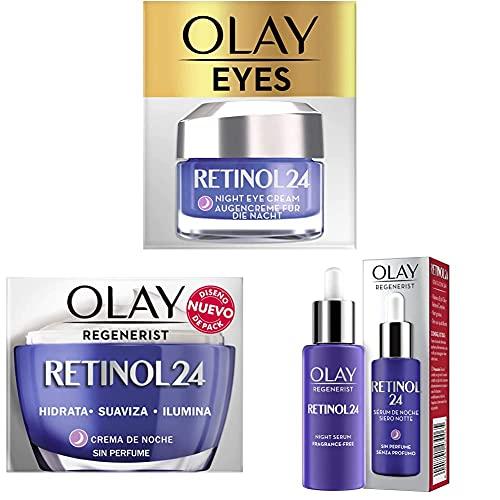 Olay Retinol 24 Crema de ojos de noche + Crema Hidratante De Noche Con Retinol + Sérum de noche, Sérum retinol sin fragancia para una piel suave y radiante
