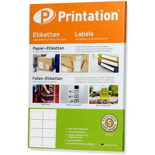 Frankier Adress - Etichette autoadesive, 97 x 67,7 mm, 200 pezzi, 97 x 67,7 mm, su 25 fogli DIN A4, 2 x 4-3660 4782 4280, colore: bianco