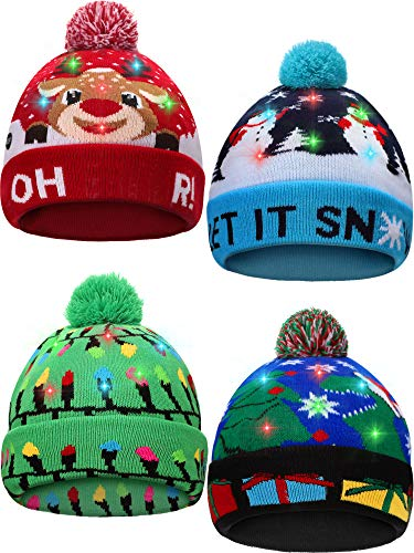 SATINIOR 4 Pieces Led Christmas Beanie Hat Led Light Up Xmas Hat Knit Christmas Cap with 6 Lights